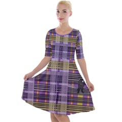 Playing With Plaid Kitten (purple) Halloween Pattern Quarter Sleeve A Line Dress
