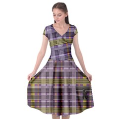 Playing With Plaid Kitten (purple) Halloween Pattern Cap Sleeve Wrap Front Dress