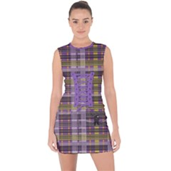 Playing With Plaid Kitten (purple) Halloween Pattern Lace Up Front Bodycon Dress