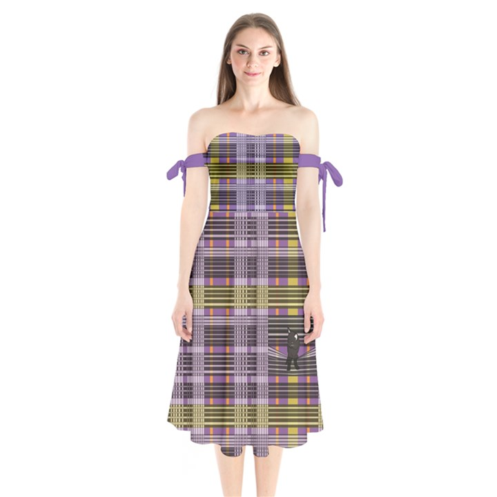 Playing with Plaid Kitten (Purple) Halloween Pattern Shoulder Tie Bardot Midi Dress