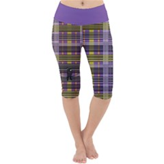 Playing With Plaid Kitten (purple) Halloween Pattern Lightweight Velour Cropped Yoga Leggings by emilyzragz