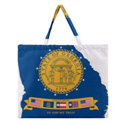 Flag Map Of Georgia, 2001 2003 Zipper Large Tote Bag
