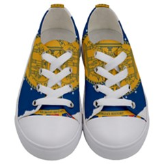 Flag Map Of Georgia, 2001 2003 Kids  Low Top Canvas Sneakers