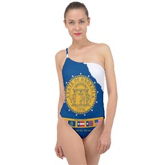 Flag Map Of Georgia, 2001 2003 Classic One Shoulder Swimsuit