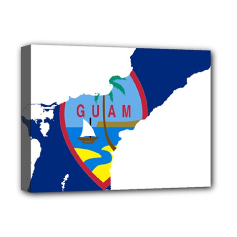 Flag Map Of Guam Deluxe Canvas 16  X 12  (stretched)