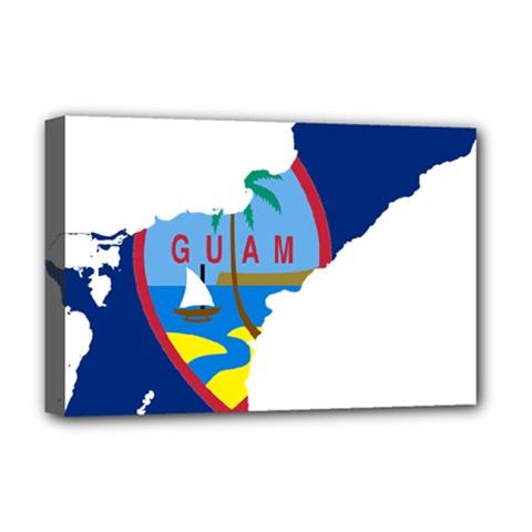 Flag Map Of Guam Deluxe Canvas 18  X 12  (stretched) by abbeyz71