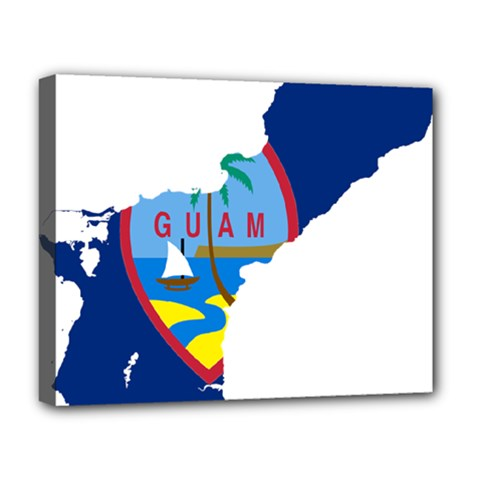 Flag Map Of Guam Deluxe Canvas 20  X 16  (stretched)