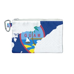 Flag Map Of Guam Canvas Cosmetic Bag (medium) by abbeyz71