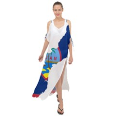 Flag Map Of Guam Maxi Chiffon Cover Up Dress