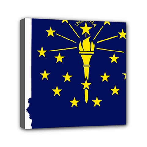 Flag Map Of Indiana Mini Canvas 6  X 6  (stretched)