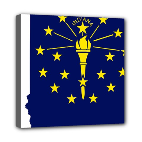 Flag Map Of Indiana Mini Canvas 8  X 8  (stretched)