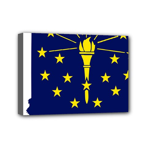Flag Map Of Indiana Mini Canvas 7  X 5  (stretched) by abbeyz71