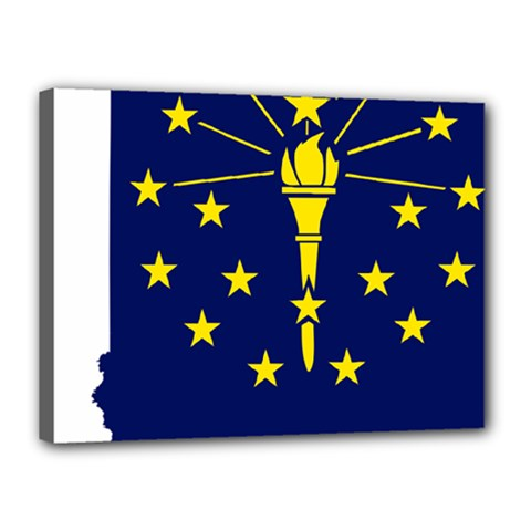 Flag Map Of Indiana Canvas 16  X 12  (stretched)