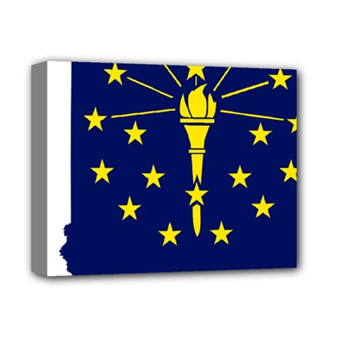 Flag Map Of Indiana Deluxe Canvas 14  X 11  (stretched)