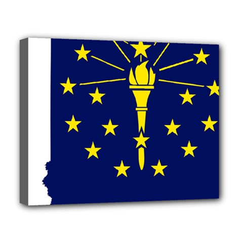 Flag Map Of Indiana Deluxe Canvas 20  X 16  (stretched)