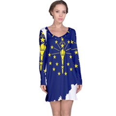 Flag Map Of Indiana Long Sleeve Nightdress