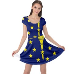 Flag Map Of Indiana Cap Sleeve Dress