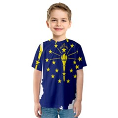 Flag Map Of Indiana Kids  Sport Mesh Tee