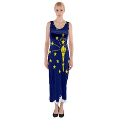 Flag Map Of Indiana Fitted Maxi Dress
