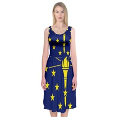 Flag Map Of Indiana Midi Sleeveless Dress