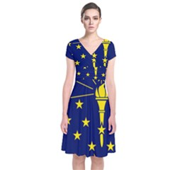 Flag Map Of Indiana Short Sleeve Front Wrap Dress