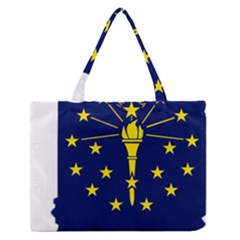 Flag Map Of Indiana Zipper Medium Tote Bag