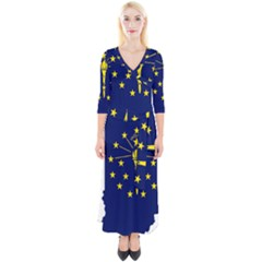 Flag Map Of Indiana Quarter Sleeve Wrap Maxi Dress