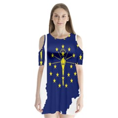 Flag Map Of Indiana Shoulder Cutout Velvet One Piece