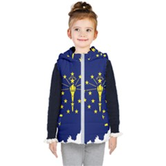 Flag Map Of Indiana Kid s Hooded Puffer Vest