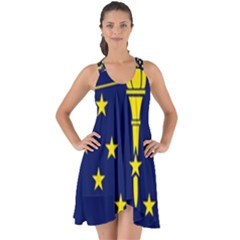 Flag Map Of Indiana Show Some Back Chiffon Dress