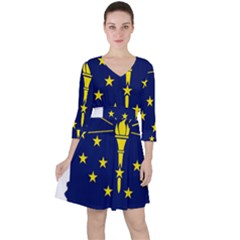 Flag Map Of Indiana Ruffle Dress