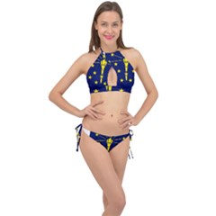 Flag Map Of Indiana Cross Front Halter Bikini Set by abbeyz71