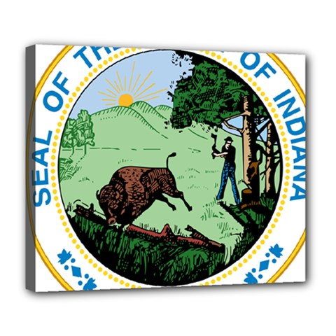 Great Seal Of Indiana Deluxe Canvas 24  X 20  (stretched)