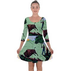 Great Seal Of Indiana Quarter Sleeve Skater Dress