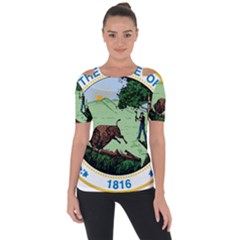 Great Seal Of Indiana Shoulder Cut Out Short Sleeve Top