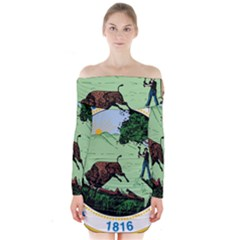Great Seal Of Indiana Long Sleeve Off Shoulder Dress