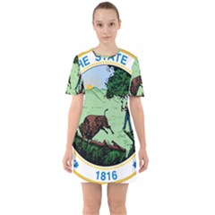 Great Seal Of Indiana Sixties Short Sleeve Mini Dress