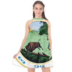 Great Seal Of Indiana Halter Neckline Chiffon Dress