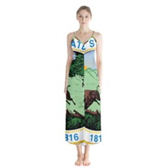 Great Seal Of Indiana Button Up Chiffon Maxi Dress
