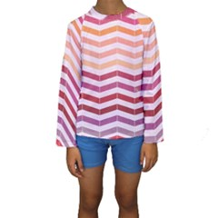 Abstract Vintage Lines Kids  Long Sleeve Swimwear