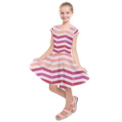 Abstract Vintage Lines Kids  Short Sleeve Dress