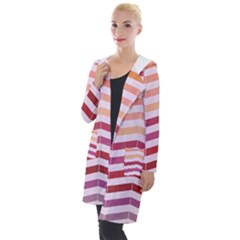 Abstract Vintage Lines Hooded Pocket Cardigan
