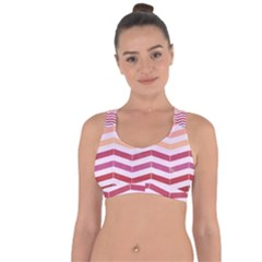 Abstract Vintage Lines Cross String Back Sports Bra