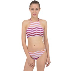 Abstract Vintage Lines Racer Front Bikini Set