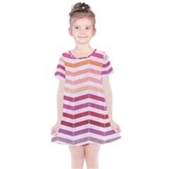 Abstract Vintage Lines Kids  Simple Cotton Dress