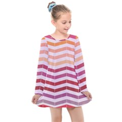 Abstract Vintage Lines Kids  Long Sleeve Dress