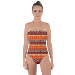 Abstract Lines Seamless Art  Pattern Tie Back One Piece Swimsuit
