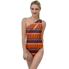 Abstract Lines Seamless Art  Pattern To One Side Swimsuit
