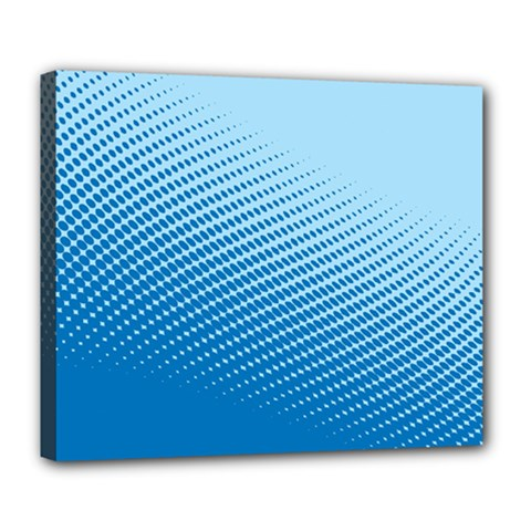 Blue Dot Pattern Deluxe Canvas 24  X 20  (stretched) by Jojostore