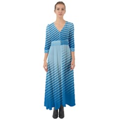 Blue Dot Pattern Button Up Boho Maxi Dress by Jojostore